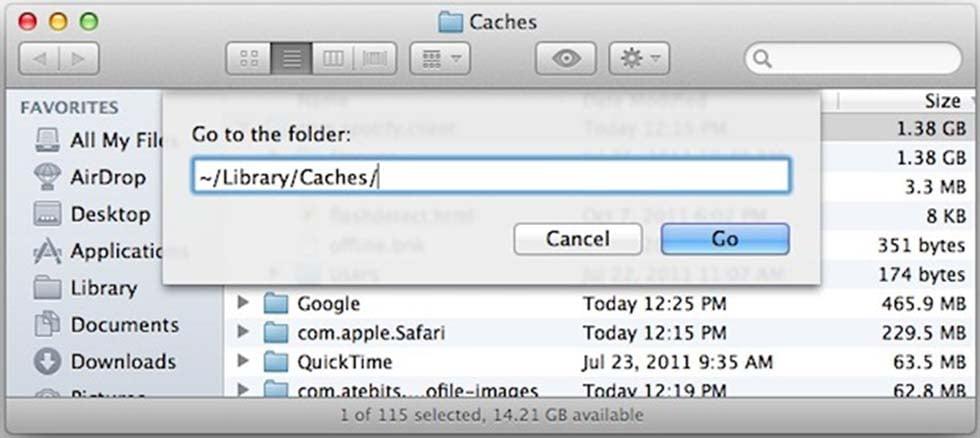 Удаление кэш на MacOS